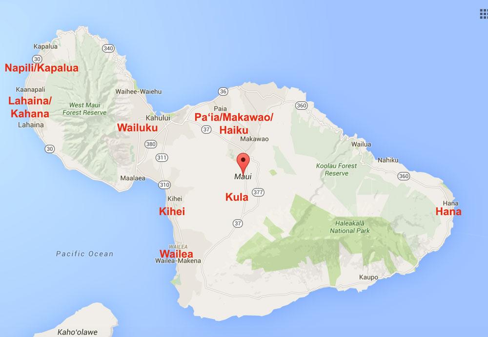 Guia de hotel em Maui - Havaí - mapa