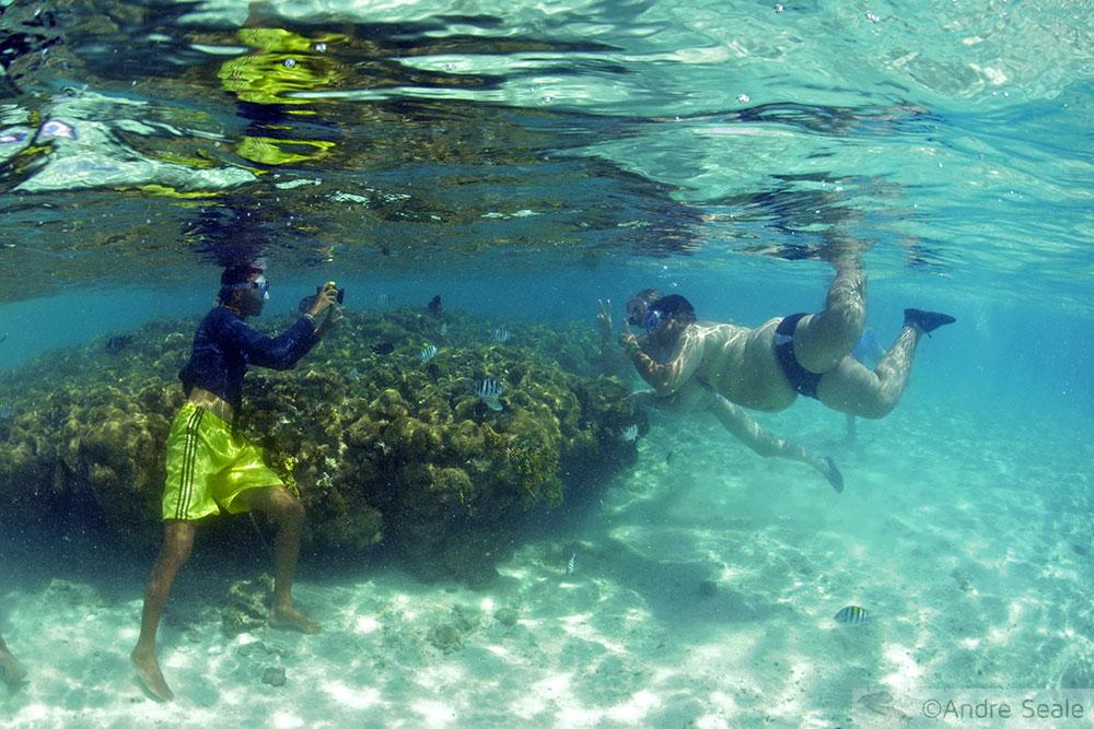 Turistas segurando coral em Maragogi