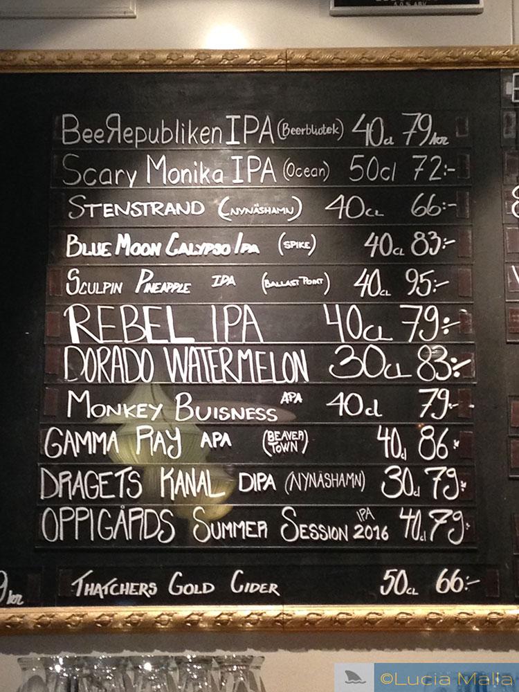 Menu de cervejas artesanais - Gotemburgo - Suécia