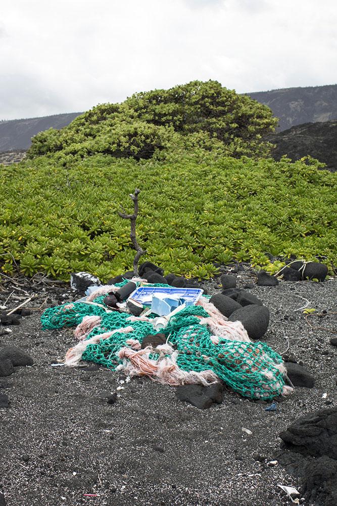 Lixo de deriva do mar
