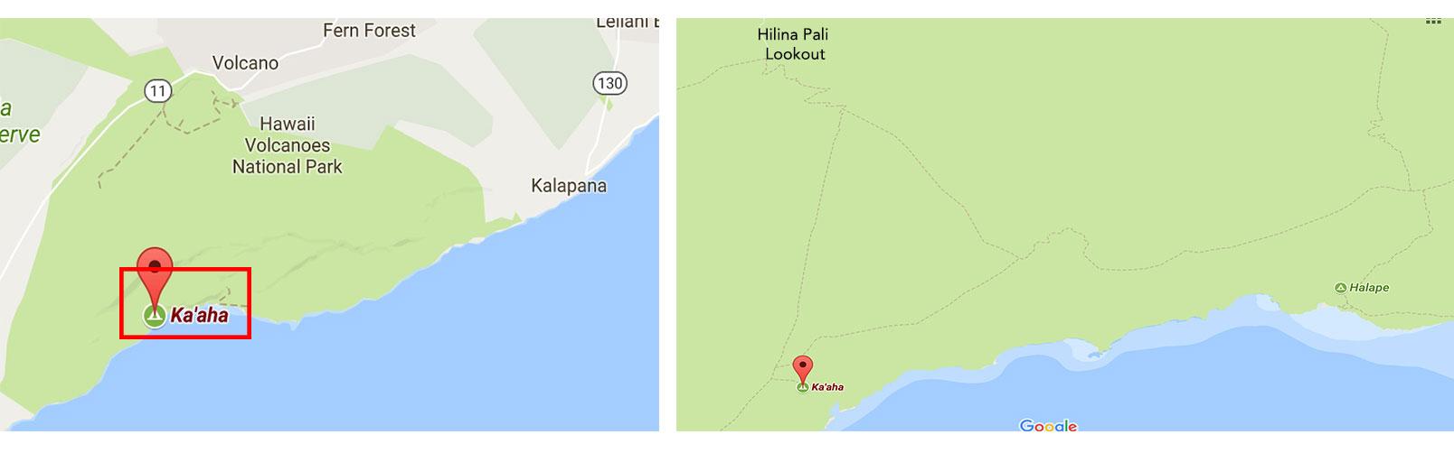 Mapa das trilhas de Ka'aha e Pepeiao - Big Island - Havaí