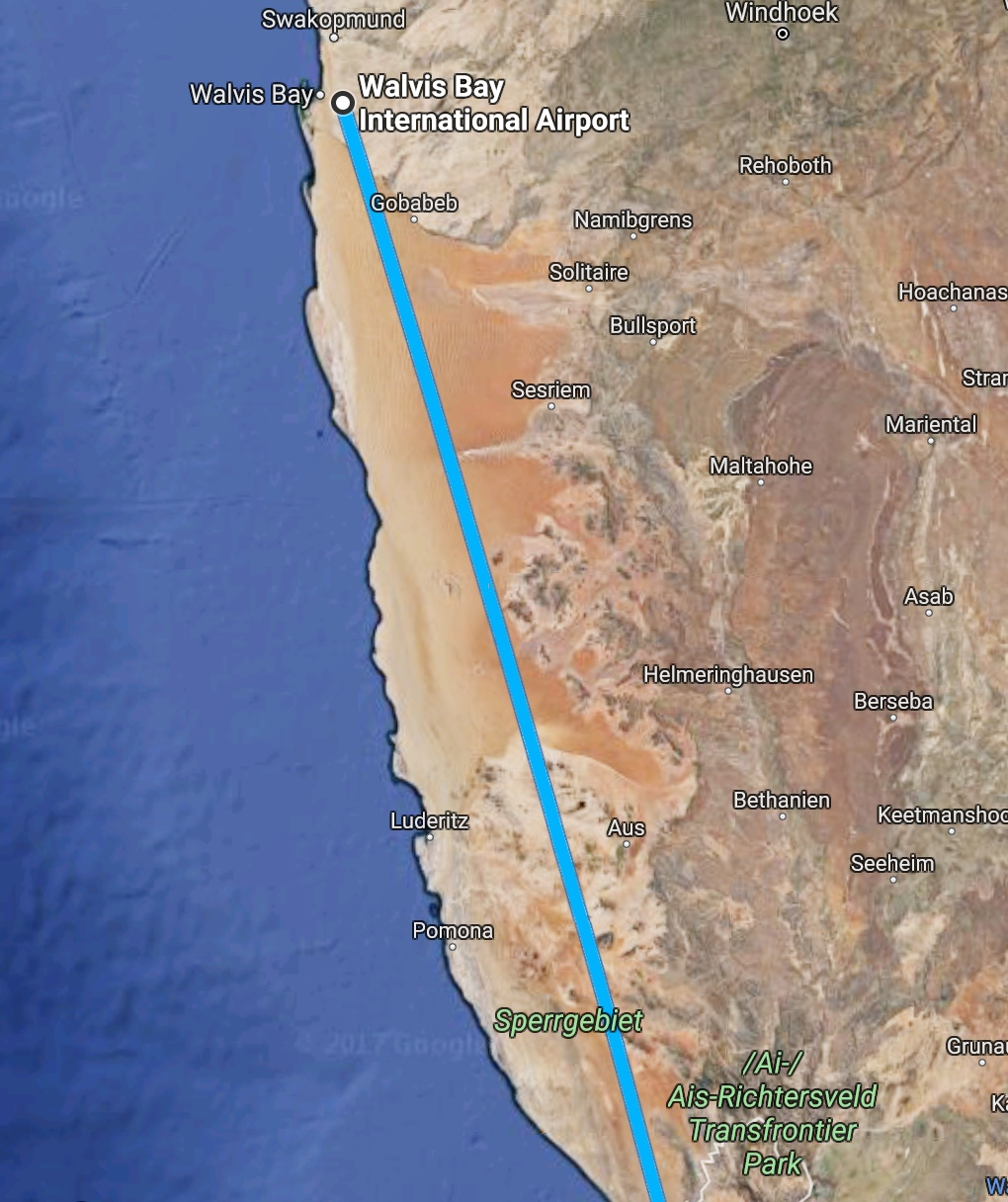 Rota do vôo Walvis Bay - Cidade do Cabo - Air Namibia
