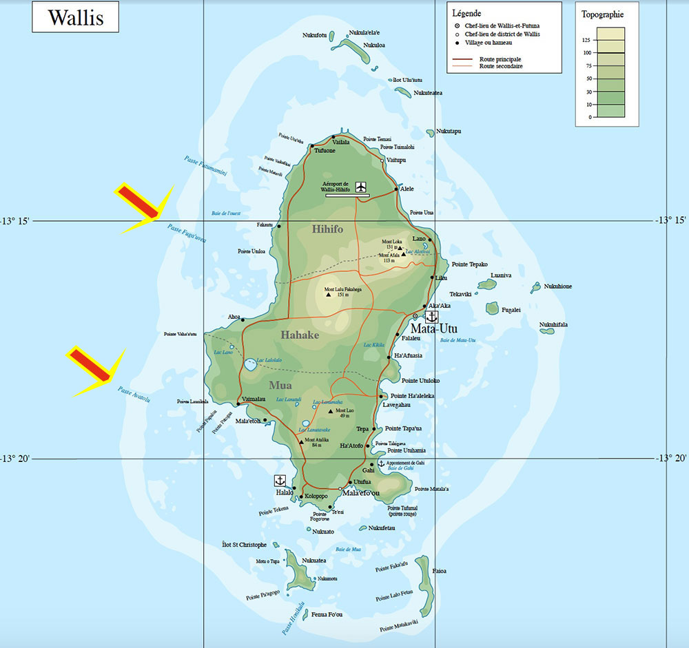 Mapa de Uvea com points de mergulho - Wallis Island - Wallis & Futuna