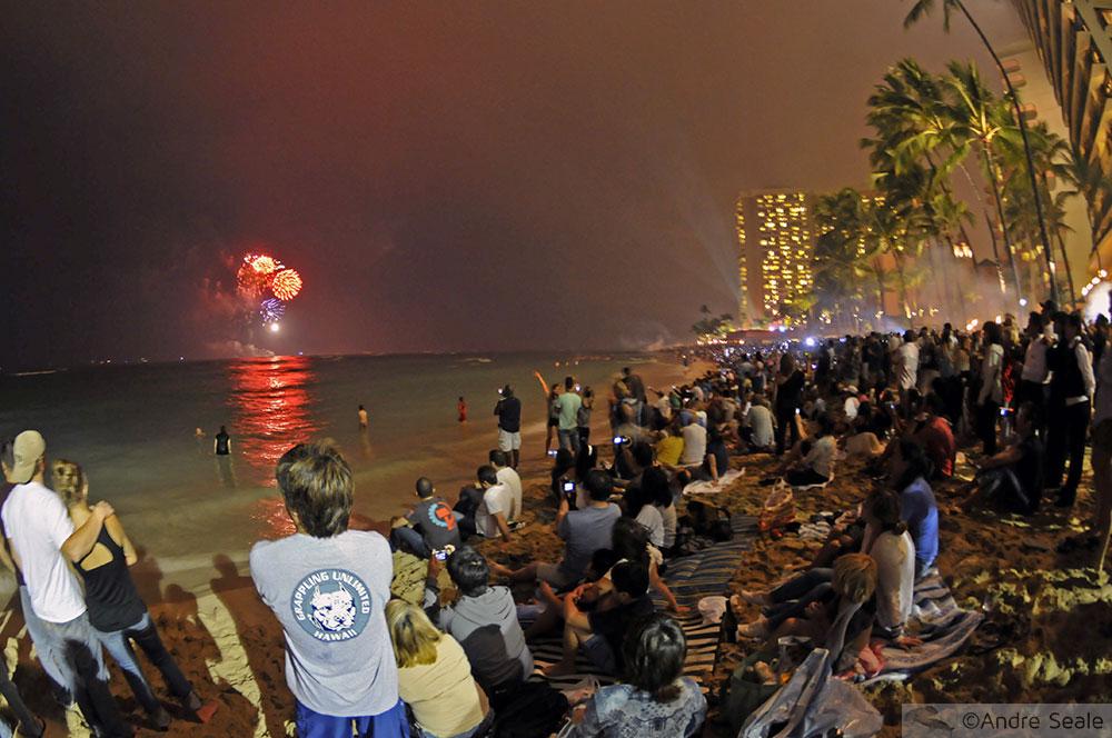 Praia de Waikiki - Ano Novo