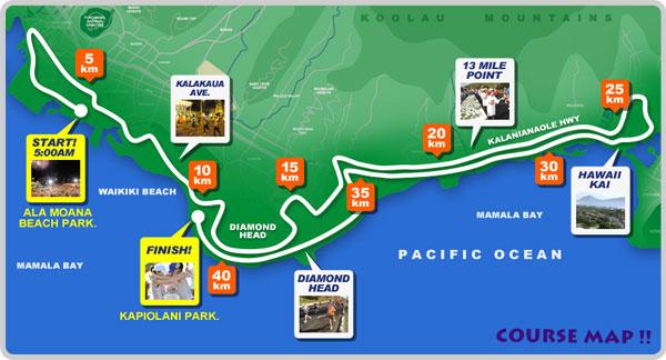 Percurso da Maratona de Honolulu - Havaí
