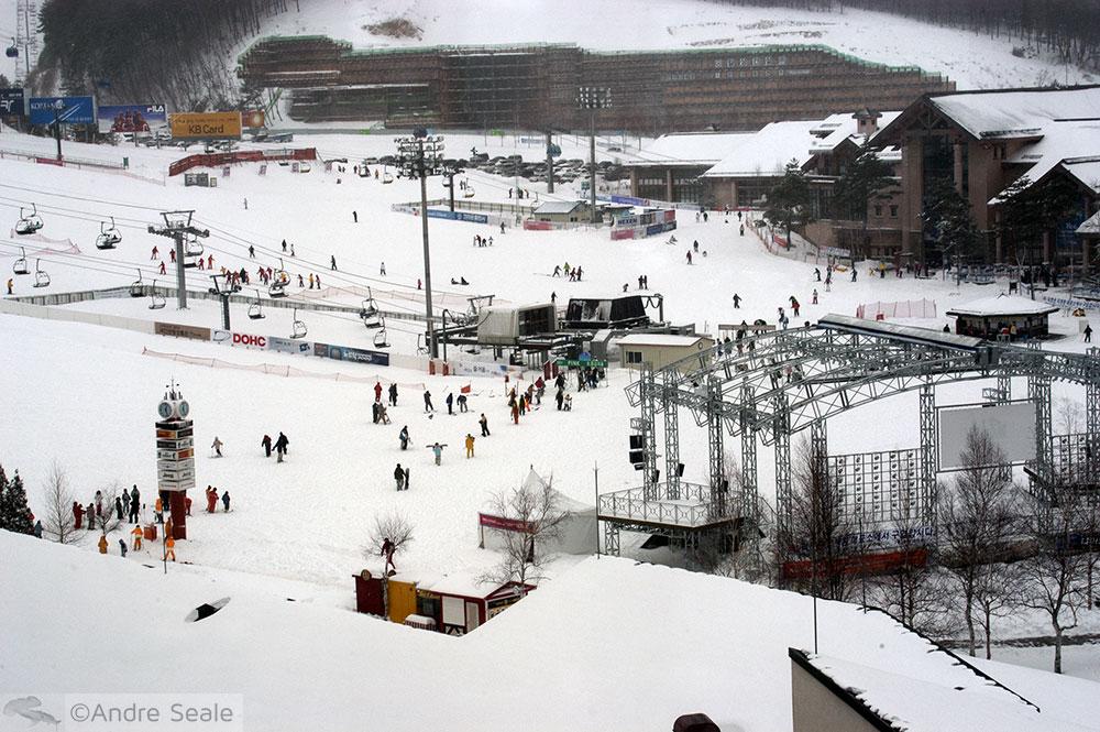 Esquiando no Yongpyong Alpine Center - Coréia do Sul