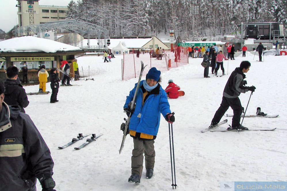 Esquiar no Yongpyong Alpine Centre - Pyeongchang - Coréia do Sul