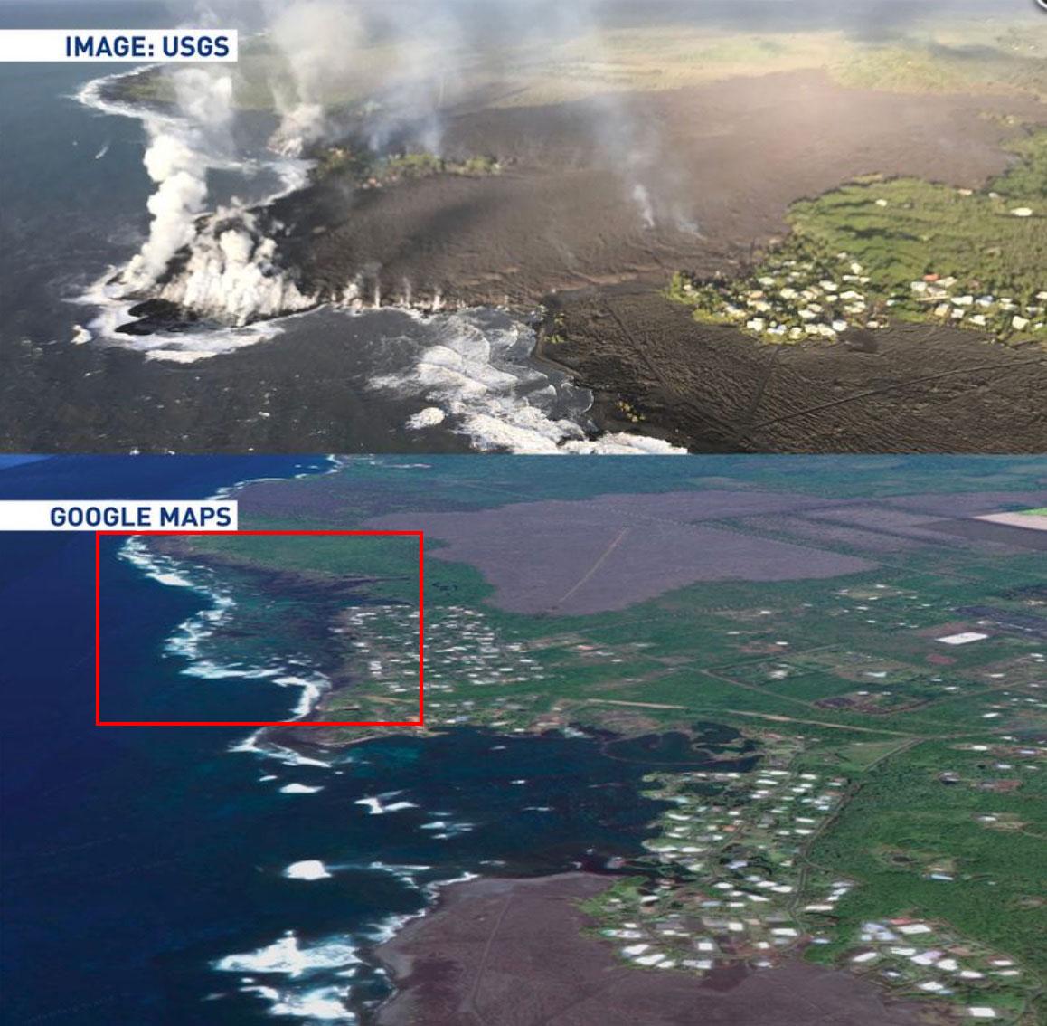 Destruição de Waiopae pela lava