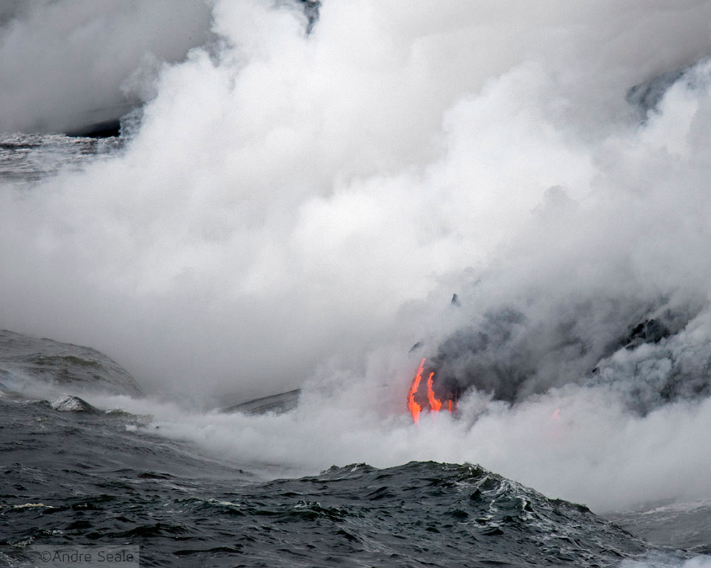 Lava no mar - Roteiros na Big Island - Hawaii