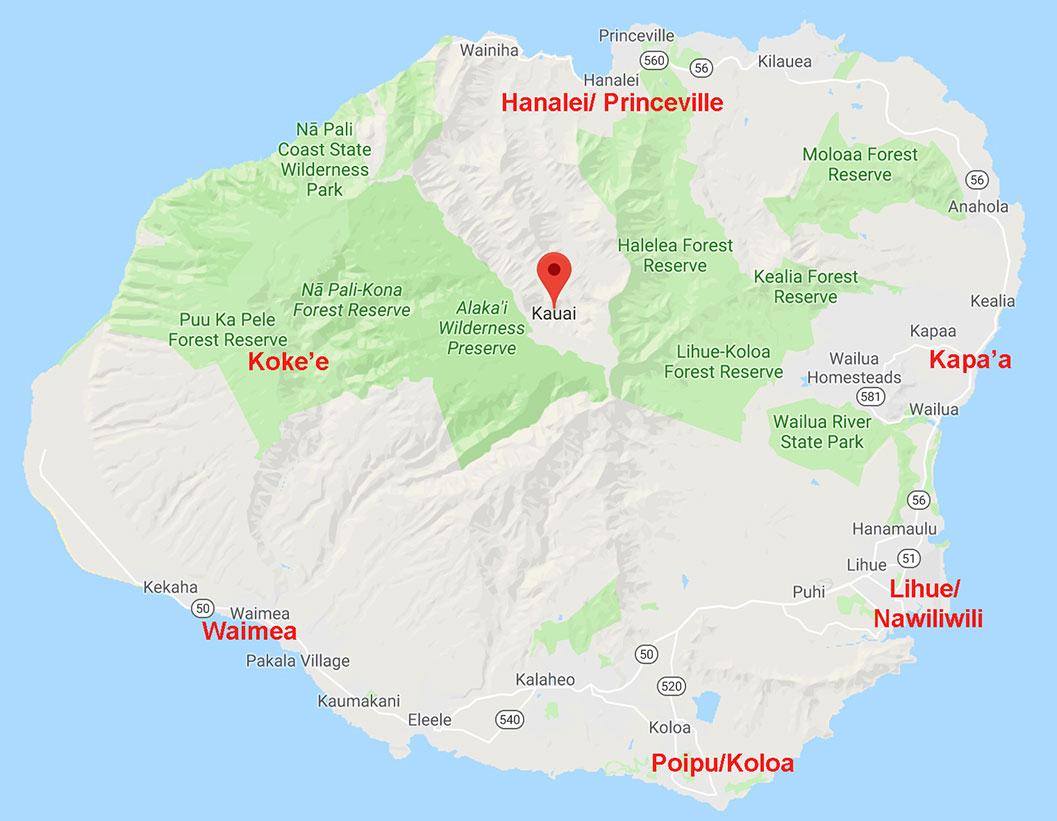 Guia Malla de hotel no Kauai - mapa do Kauai