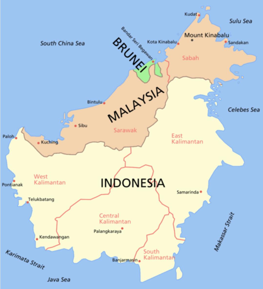 Mapa da ilha de Bornéu - sudeste asiático