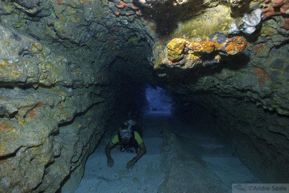 Mergulhador em caverna - Pedras Secas - Fernando de Noronha