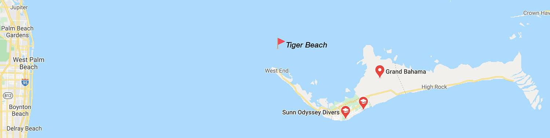 Mapa de Tiger Beach - Bahamas