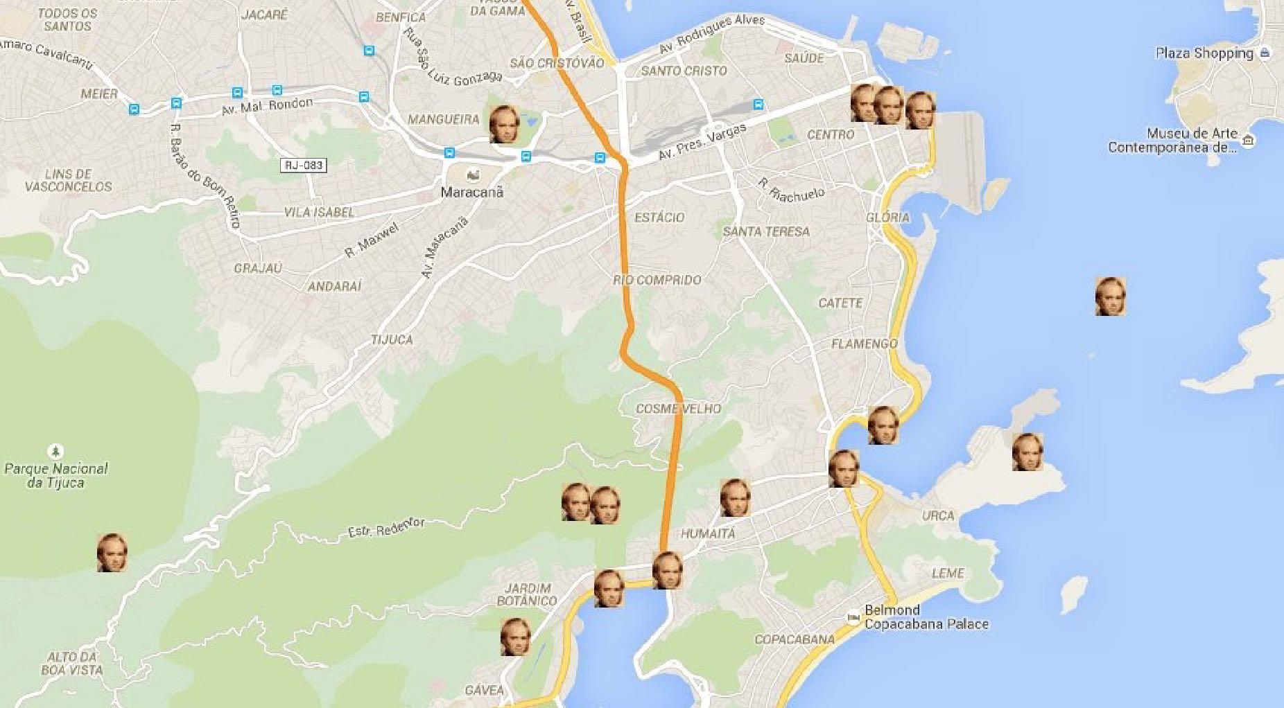 Mapa do Rio de Janeiro - Darwin na América do Sul